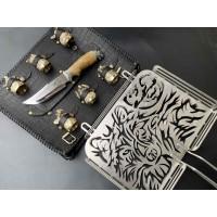 Решетка Волк с ножом и чарками