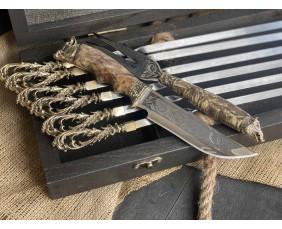 Шампура Бриз в расписном кейсе из бука. Шампура +нож +вилка