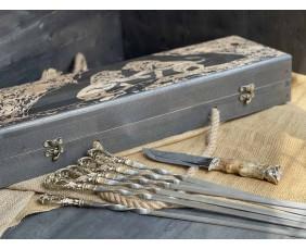 Шампура Бриз в расписном кейсе из бука.Шампура +нож