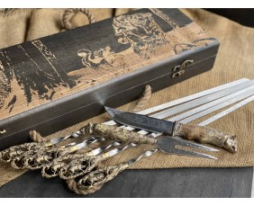Шампура Кабан в расписном кейсе из бука. Шампура +нож +вилка