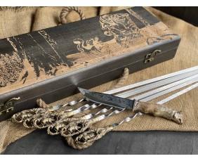 Шампура Кабан в расписном кейсе из бука.Шампура +нож