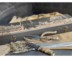 Шампура Трофей в расписном кейсе из бука. Шампура +нож +вилка