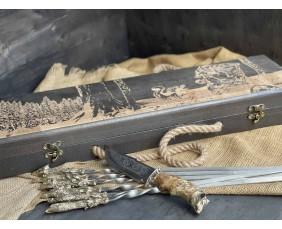 Шампура Трофей в расписном кейсе из бука.Шампура +нож