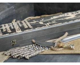 Шампура Дикие звери в расписном кейсе из бука.Шампура +нож