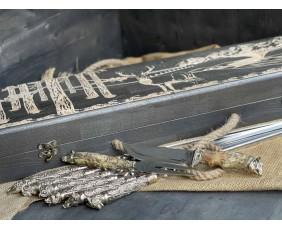 Шампура Дикие звери в расписном кейсе из бука. Шампура +нож +вилка