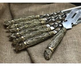 """Шампура подарочные """"Дикие звери"""" с вилкой для снятия мяса"""