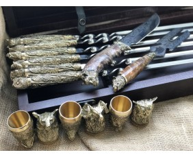 """""""Дикие звери """" Эксклюзивный набор для шашлыка.Шампура+рюмки+нож+вилка"""