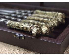 """Комплект шампуров """"Верный друг """" в кейсе из натурального дерева"""