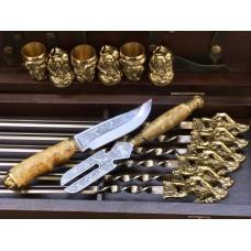 """""""Козаки """" Эксклюзивный набор для шашлыка.Шампура+рюмки+нож+вилка"""