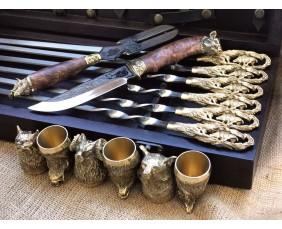"""Кабан"" Эксклюзивный набор для шашлыка.Шампура+рюмки+нож+вилка"