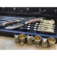 """""""Охотничий трофей"""" Эксклюзивный набор для шашлыка.Шампура+рюмки+нож+вилка"""