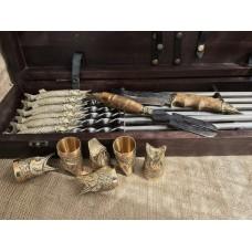 """""""Царский улов """" Эксклюзивный набор для шашлыка.Шампура+рюмки+нож+вилка"""
