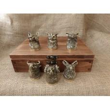"""Набор 6 чарок """"Охотничьих"""" в кейсе из натурального дерева"""