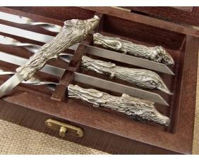 """Комплект шампуров """"Охотничий трофей """" в кейсе из натурального дерева"""