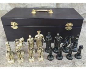 """Шахматы """"Запорожская Сечь"""" исторические эксклюзивные с фигурами из бронзы"""